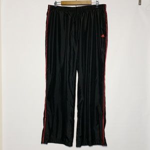 Adidas Athletic Windbreaker Pants Black Red Stripe